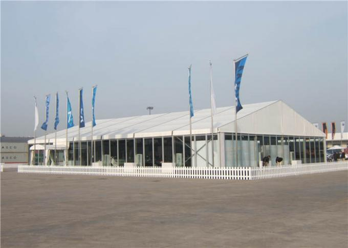 PVC Roof Clear Span Tent 600 People Glass Wall Size Customized For Annual Banguet