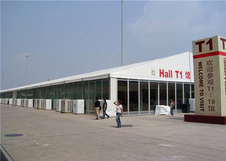 China White Trade Show Tent , 20m - 40m Aluminum Frame Tent Flooring System Optional supplier