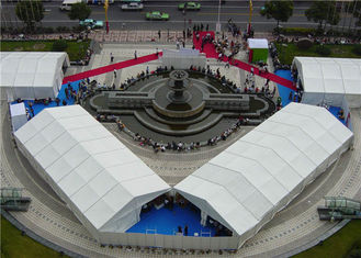 China 12m Auto Outdoor Exhibition Tents , Large Clear Span Tent Hard Pressed Waterproof supplier