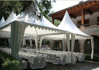 China Wind Proof Pagoda Party Tent 25sqm With Round / Square Clear PVC Window factory